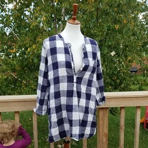 Old Navy Blue & White Plaid Flannel Tunic